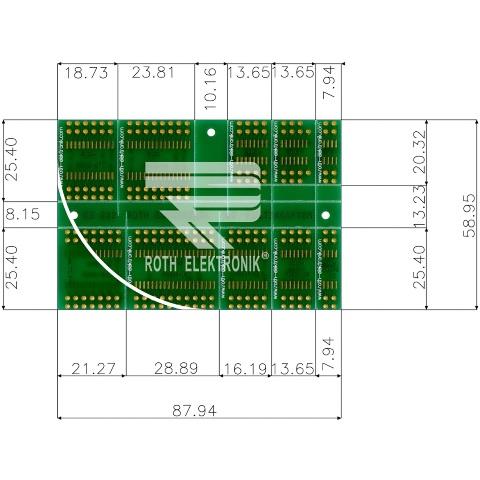 לוח מתאמים לרכיבי SOIC ~ DIP - SMD ROTH ELEKTRONIK