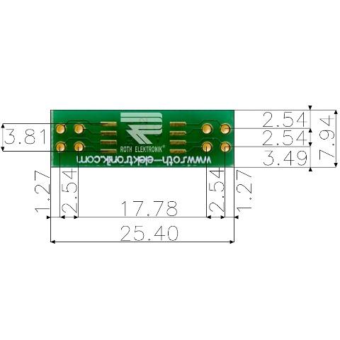 לוח מתאם לרכיבי SOIC-8W ~ DIP - SMD ROTH ELEKTRONIK