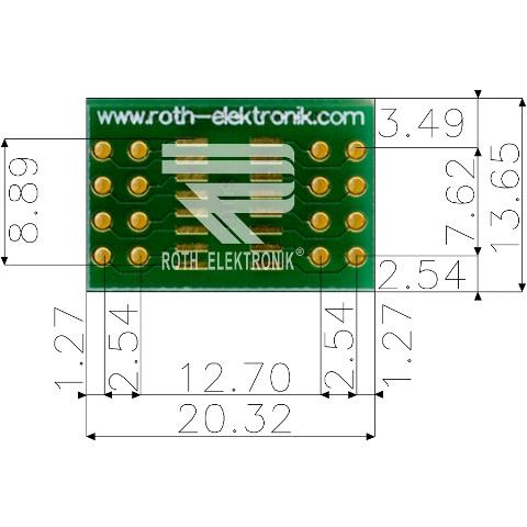לוח מתאם לרכיבי SOIC-16 ~ DIP - SMD ROTH ELEKTRONIK