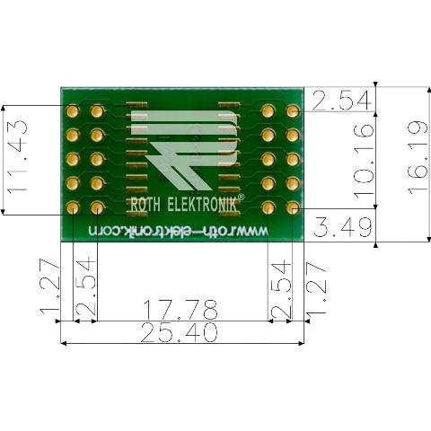 לוח מתאם לרכיבי SOIC-20W ~ DIP - SMD ROTH ELEKTRONIK