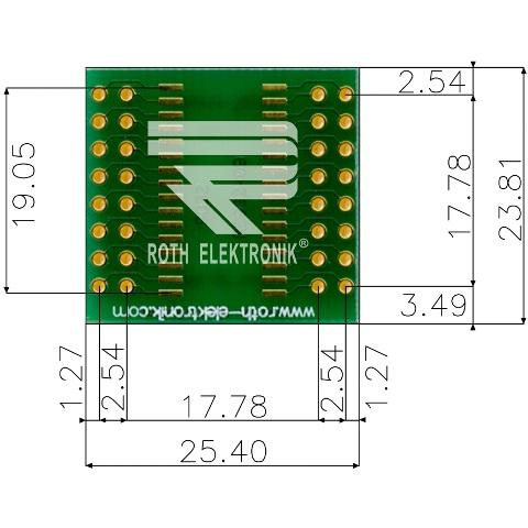 לוח מתאם לרכיבי SOIC-32 ~ DIP - SMD ROTH ELEKTRONIK