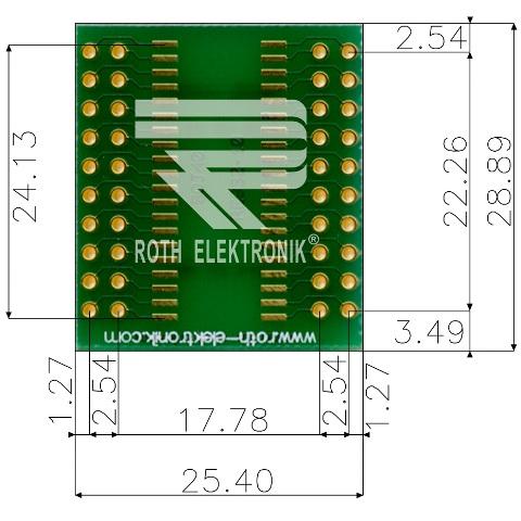 לוח מתאם לרכיבי SOJ-40 ~ DIP - SMD ROTH ELEKTRONIK