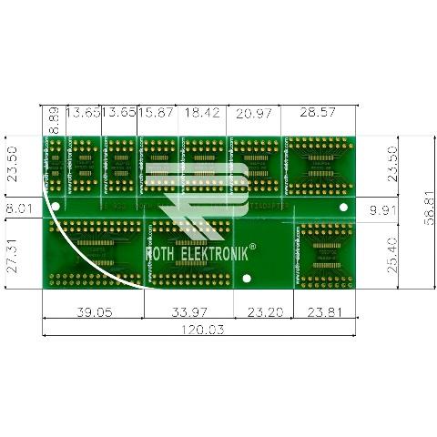 לוח מתאמים לרכיבי TSSOP ~ DIP - SMD ROTH ELEKTRONIK