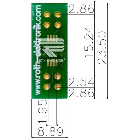 לוח מתאם לרכיבי TSSOP-8 ~ DIP - SMD ROTH ELEKTRONIK