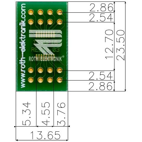 לוח מתאם לרכיבי TSSOP-16 ~ DIP - SMD ROTH ELEKTRONIK