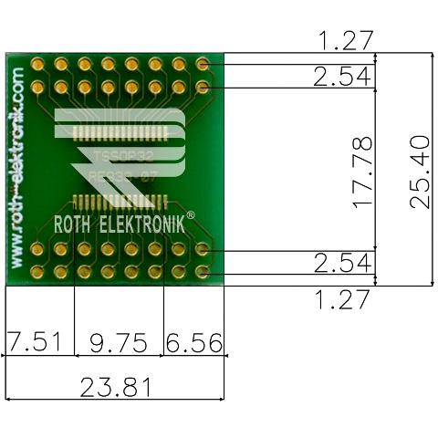 לוח מתאם לרכיבי TSSOP-32 ~ DIP - SMD ROTH ELEKTRONIK
