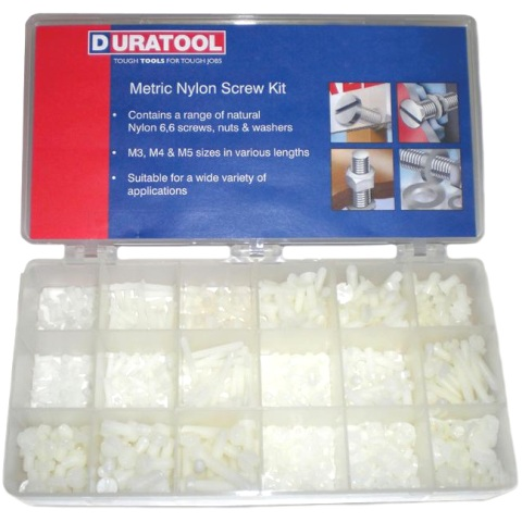 DURATOOL 550PCS METRIC NYLON SCREW KIT