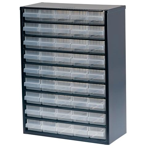 ארונית פלדה לאחסון רכיבים - 45 מגירות - 417X306X150MM RAACO