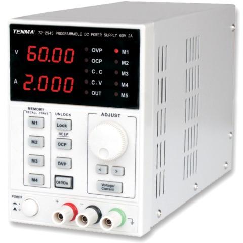 ספק כוח מעבדתי - PROG - יציאה אחת - (0-60V / 0-2A) TENMA