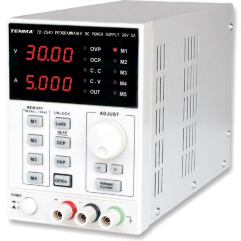 ספק כוח מעבדתי - PROG - יציאה אחת - (0-30V / 0-5A) TENMA