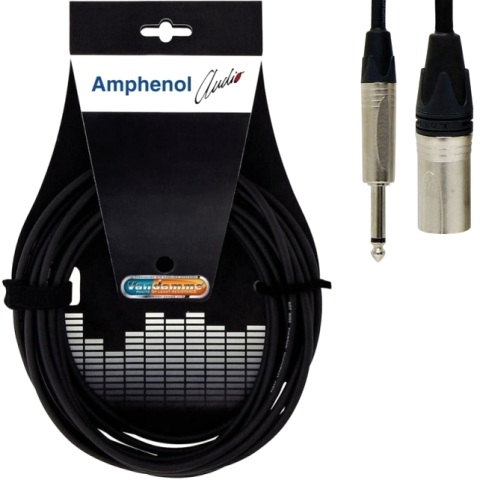 כבל הגברה מקצועי - XLR (M) ~ PL (M) - 0.5M AMPHENOL AUDIO