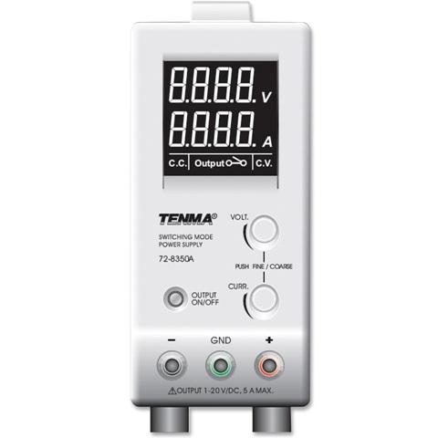 ספק כוח מעבדתי - SWITCHING - יציאה אחת - (0-20V / 0-5A) TENMA