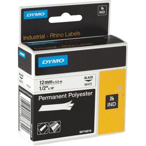 סרט לסימון תעשייתי - פוליאסטר דבק חזק - 12MM X 5.5M - לבן DYMO