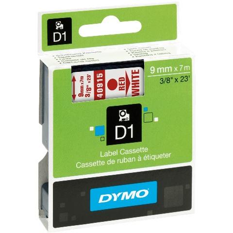 סרט פלסטיק דביק - 9MM X 7M - D1 - אדום / לבן DYMO