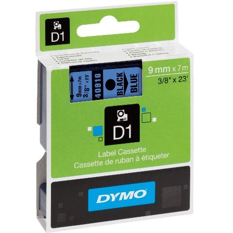 סרט פלסטיק דביק - 9MM X 7M - D1 - שחור / כחול DYMO