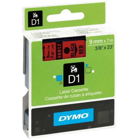 סרט פלסטיק דביק - 9MM X 7M - D1 - שחור / אדום DYMO