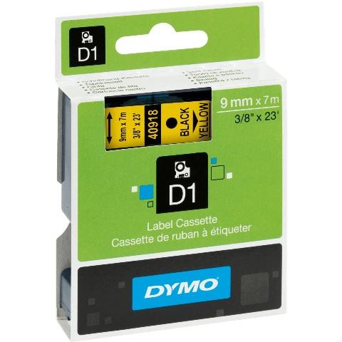 סרט פלסטיק דביק - 9MM X 7M - D1 - שחור / צהוב DYMO