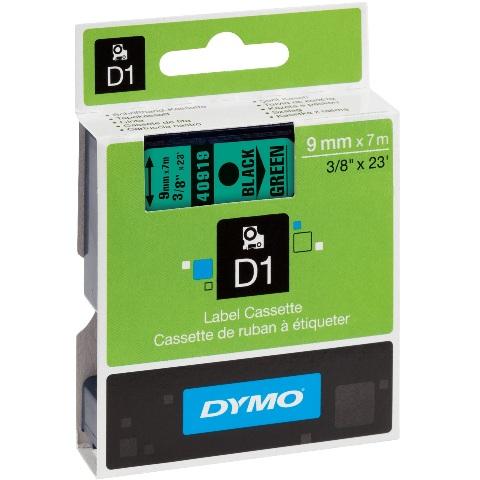 סרט פלסטיק דביק - 9MM X 7M - D1 - שחור / ירוק DYMO