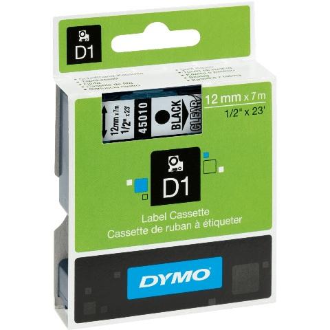 סרט פלסטיק דביק - 12MM X 7M - D1 - שחור / שקוף DYMO