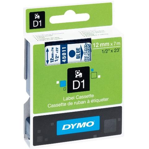 סרט פלסטיק דביק - 12MM X 7M - D1 - כחול / שקוף DYMO
