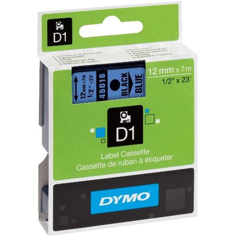 סרט פלסטיק דביק - 12MM X 7M - D1 - שחור / כחול DYMO
