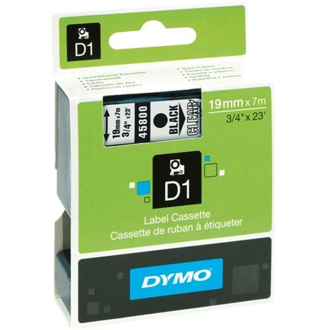 סרט פלסטיק דביק - 19MM X 7M - D1 - שחור / שקוף DYMO