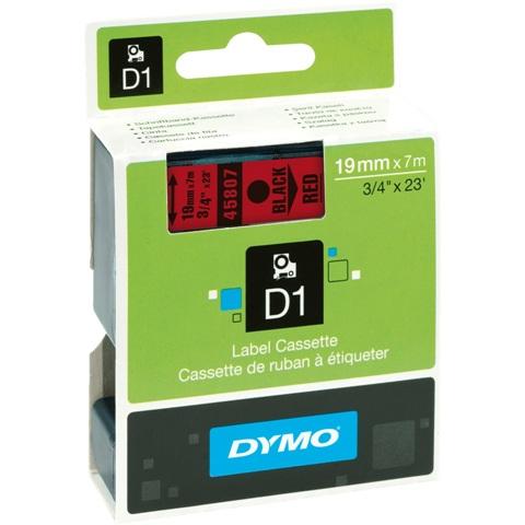 סרט פלסטיק דביק - 19MM X 7M - D1 - שחור / אדום DYMO