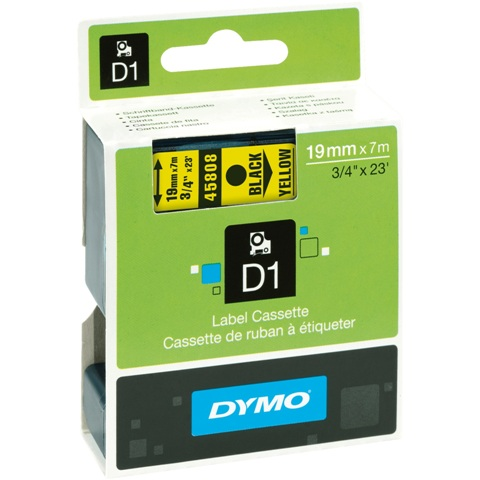 סרט פלסטיק דביק - 19MM X 7M - D1 - שחור / צהוב DYMO