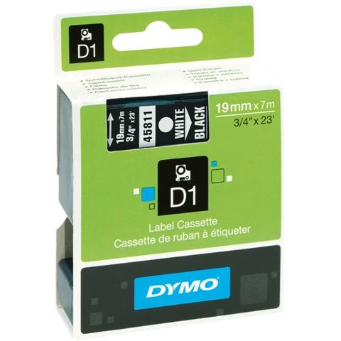 סרט פלסטיק דביק - 19MM X 7M - D1 - לבן / שחור DYMO