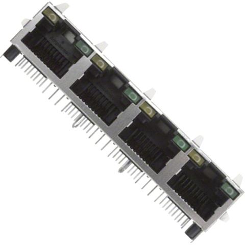 מחבר מסוכך RJ45 - נקבה למעגל מודפס - RJHSE-5385-04 - CAT5E AMPHENOL