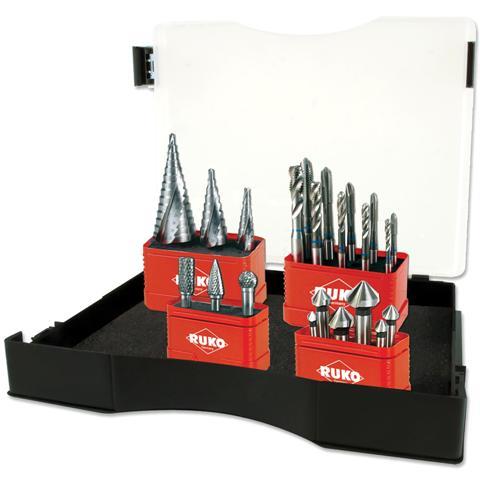 סט מברזים , מקדחים מדורגים , פצירות מסתובבות ושקענים - 22 יחידות RUKO