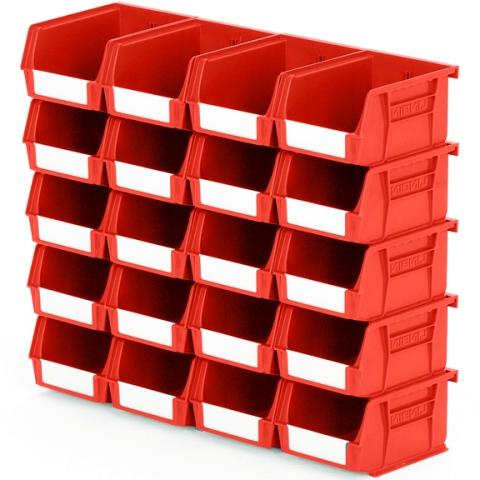 סט 20 תאי אחסון מודולריים אדומים - 135MM X 105MM X 75MM APEX LINVAR