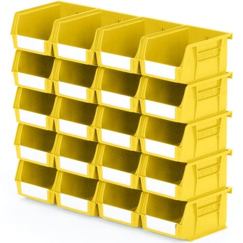 סט 20 תאי אחסון מודולריים צהובים - 135MM X 105MM X 75MM APEX LINVAR