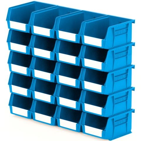 סט 20 תאי אחסון מודולריים כחולים - 135MM X 105MM X 75MM APEX LINVAR