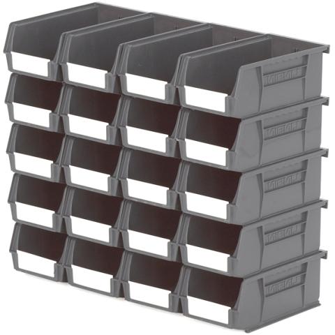 סט 20 תאי אחסון מודולריים אפורים - 190MM X 105MM X 75MM APEX LINVAR
