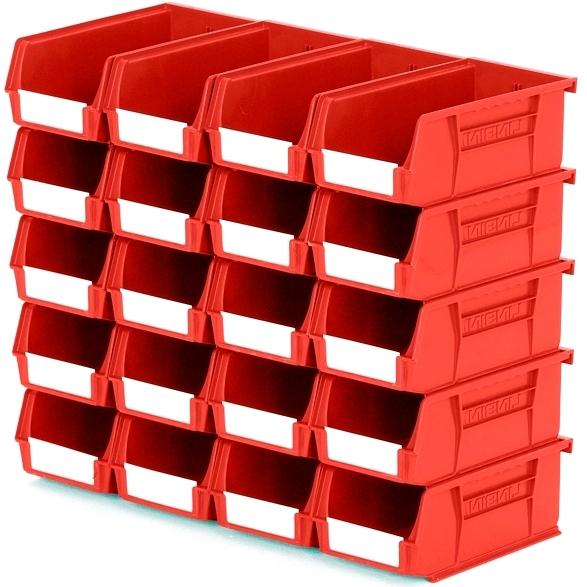 סט 20 תאי אחסון מודולריים אדומים - 190MM X 105MM X 75MM APEX LINVAR
