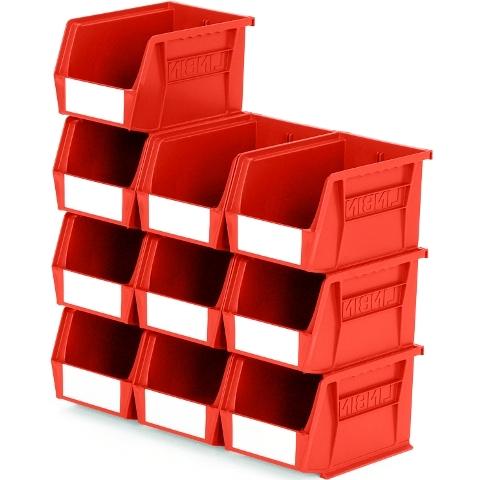 סט 10 תאי אחסון מודולריים אדומים - 210MM X 140MM X 130MM APEX LINVAR