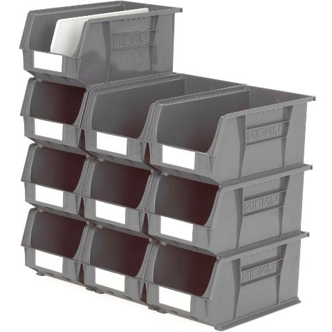 סט 10 תאי אחסון מודולריים אפורים - 375MM X 210MM X 180MM APEX LINVAR