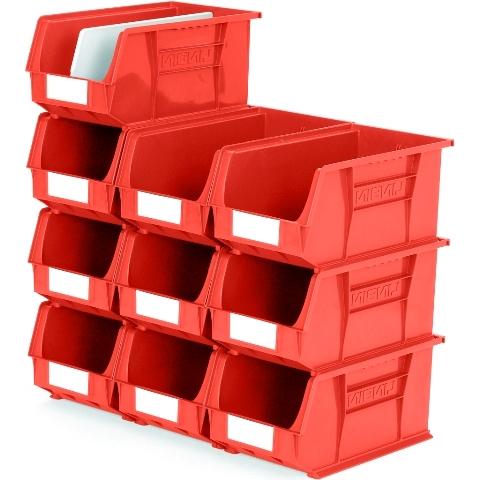 סט 10 תאי אחסון מודולריים אדומים - 375MM X 210MM X 180MM APEX LINVAR