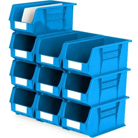 סט 10 תאי אחסון מודולריים כחולים - 375MM X 210MM X 180MM APEX LINVAR