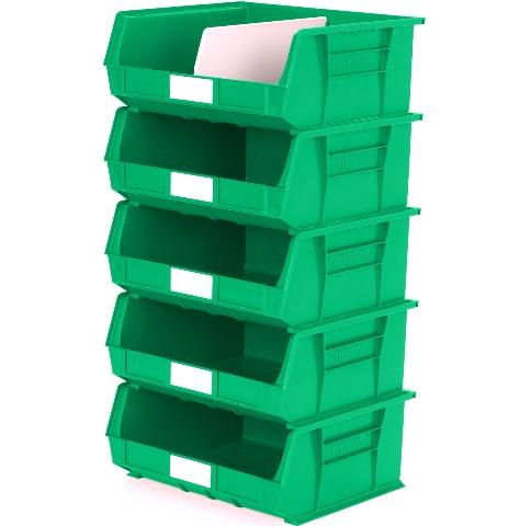 סט 5 תאי אחסון מודולריים ירוקים - 420MM X 375MM X 180MM APEX LINVAR