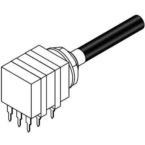 פוטנציומטר חד סיבובי לינארי כפול - 10K TE CONNECTIVITY