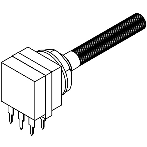 פוטנציומטר חד סיבובי לינארי עם מפסק - 4.7K TE CONNECTIVITY