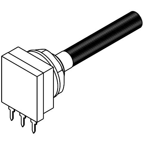 פוטנציומטר חד סיבובי לוגריתמי - 10K TE CONNECTIVITY