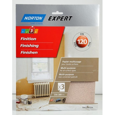 חבילת ניירות זכוכית - FINE DUTY NORTON ABRASIVES