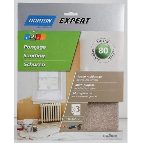 חבילת ניירות זכוכית - MEDIUM DUTY NORTON ABRASIVES