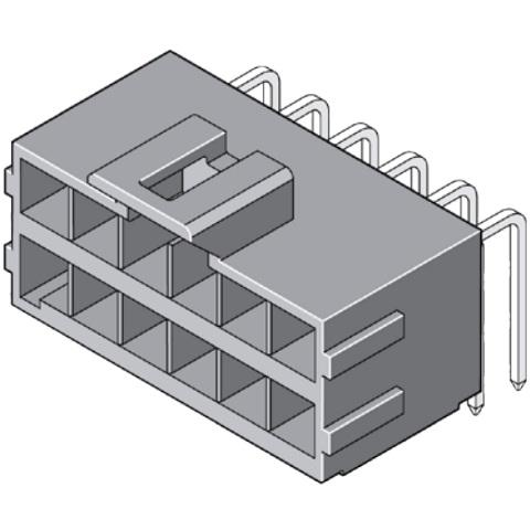 מחבר MOLEX למעגל מודפס - סדרת ULTRA-FIT - זכר 10 מגעים MOLEX