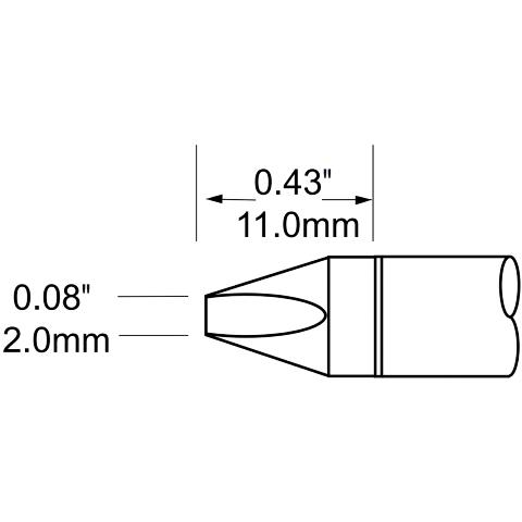 ראש לידית מלחם - METCAL SFV-CH20 - CHISEL 2MM METCAL