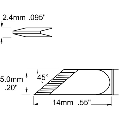 ראש לידית מלחם - METCAL SFV-DRK50 - KNIFE 5MM METCAL