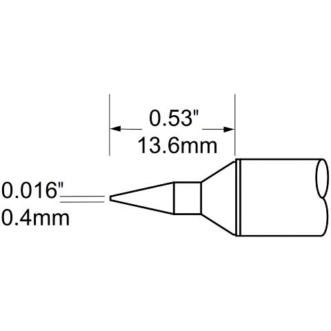 ראש לידית מלחם - METCAL SCV-CNL04 - CONICAL 0.4MM METCAL